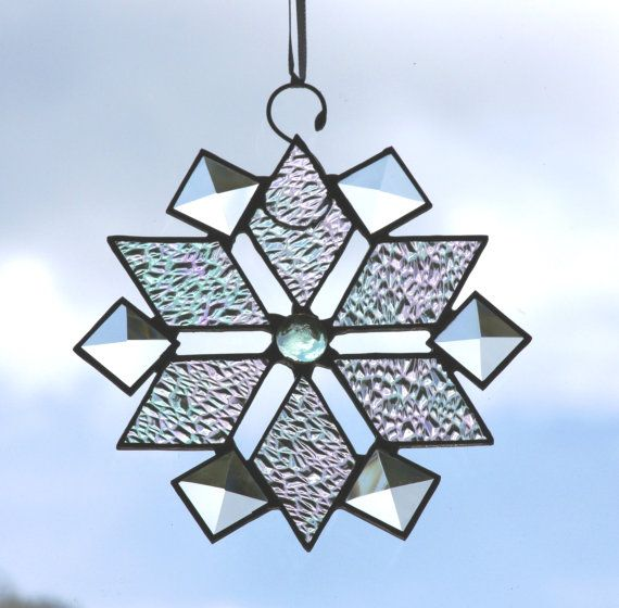 Clear Beveled Glass Snowflake with Violet Iridescent Glass Nuggets