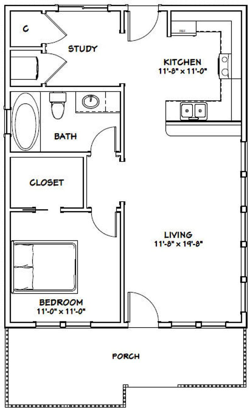 24x32 House 1 Bedroom 1 Bath 768 Sq Ft Pdf Floor Plan Etsy In 2020 Tiny House Plans Small House Floor Plans House Floor Plans