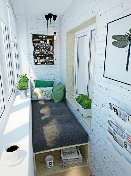 Лоджия со стильным диваном. #ideasforbalcony