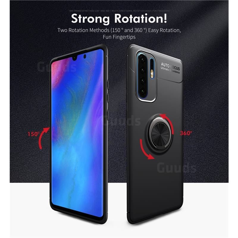 Auto Focus Invisible Ring Holder Soft Phone Case For Huawei P30 Pro Black Huawei P30 Pro Cases Guuds Huawei Phone Phone Cases