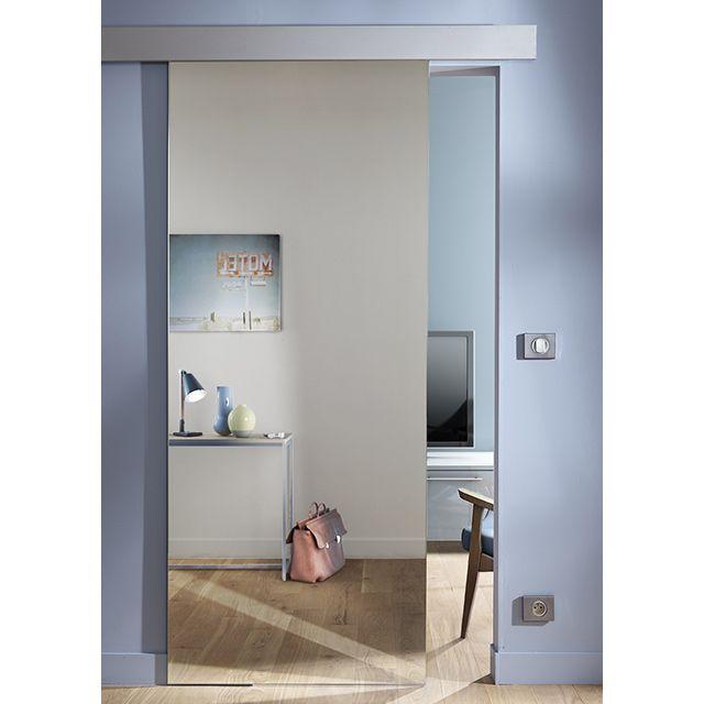 Porte coulissante miroir Reflecto 83 cm + système en applique Kidal - porte d armoire coulissante