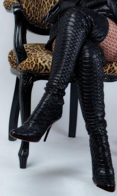 3e65fa6f5ec snake skin thigh high designer boots