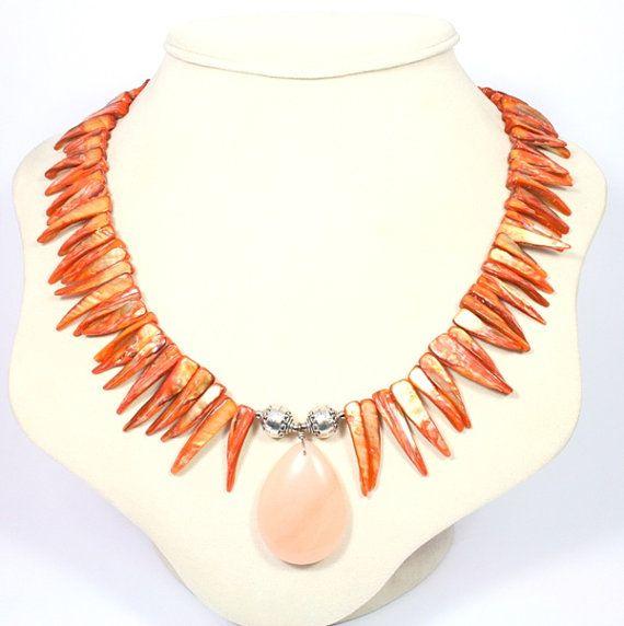 Orange Statement Necklace - Orange Mother of Pearl Shell Necklace - Statement Jewellery - Shell Spikes - Peach Pendant - Big Skies Jewellery