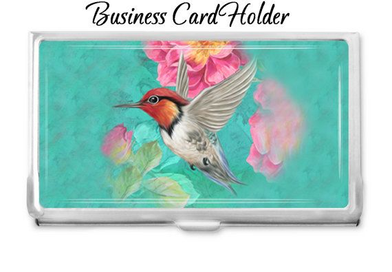 idea office supplies. Hummingbird 3 Custom Business Card Holder - Personalized Case Gift Idea Office Supplies Credit N