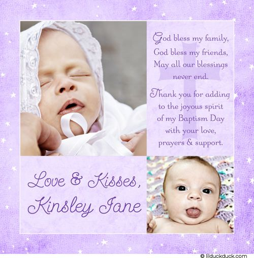 Morning Stars Baptism Thank You Card | Morning star