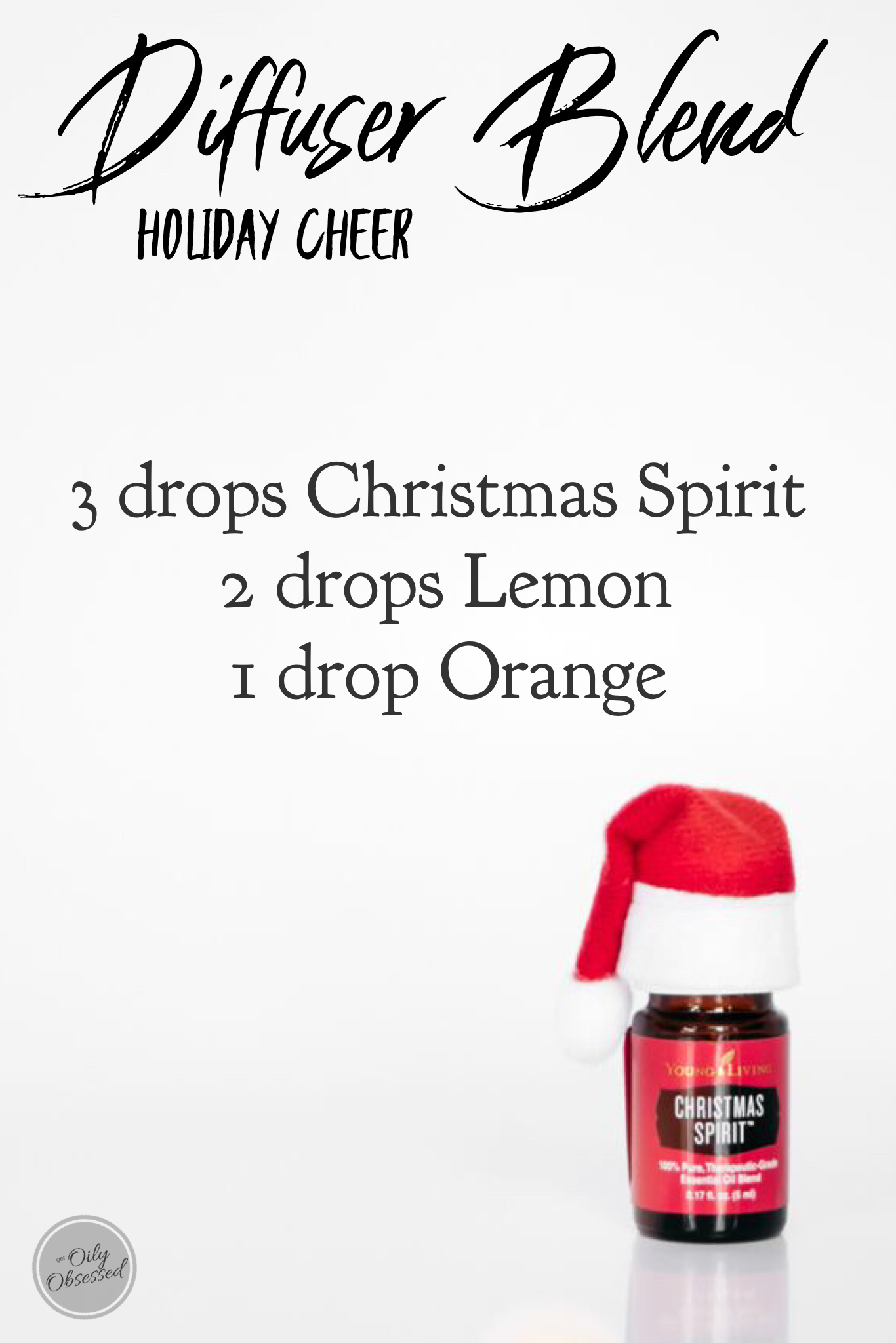 Add some Holiday Cheer with this sweet diffuser blend of Christmas Spirit, Lemon and Orange. #winterdiffuserblends