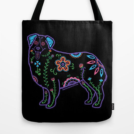 Color Sugar Skull Australian Shepherd Tote Bag