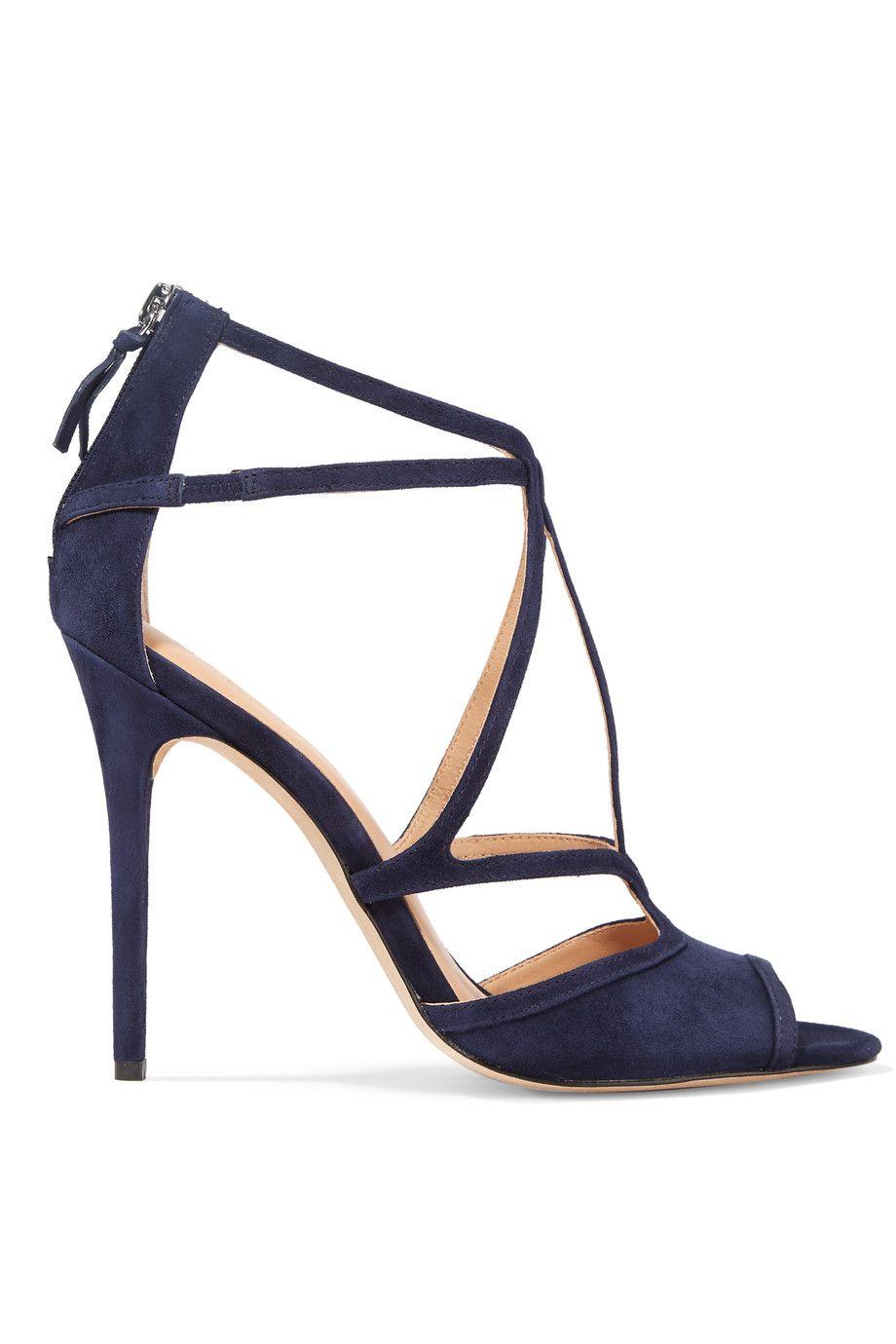 317b3f36ca2 Halston 'Monica' Navy Suede T-Strap Sandal | Adorable Shoes ...