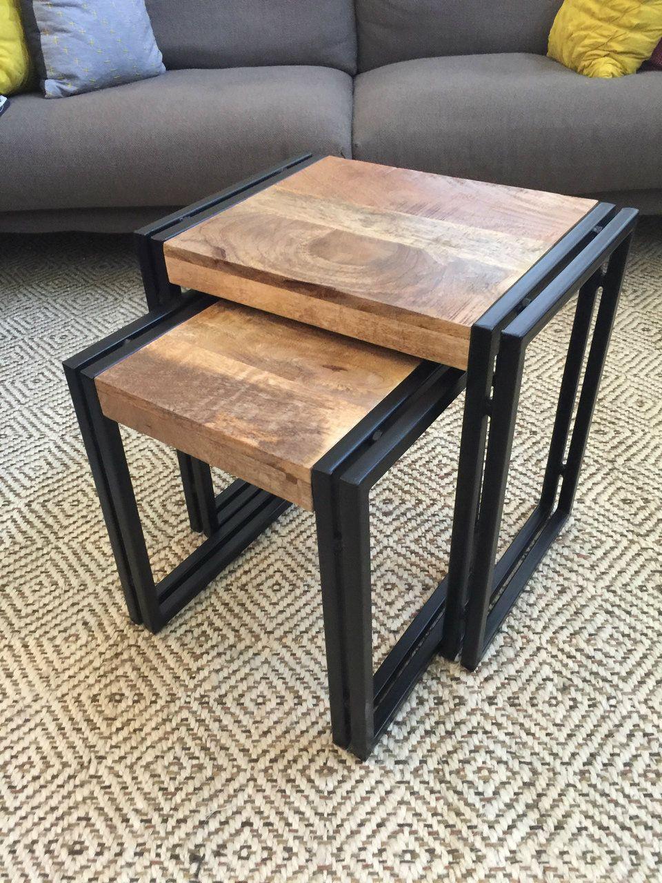 Reclaimed Wood Metal Nesting Table Set Of 2 Metal Nesting Tables Nesting Tables Table [ 1280 x 960 Pixel ]