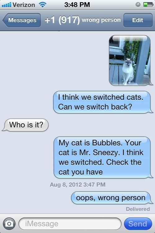Cell Phone Users With Wrong Number Texts. HAHAHA!