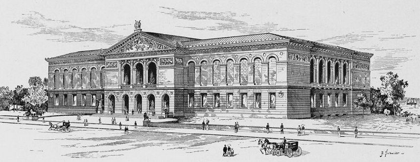 The new Memorial Art Palace of the Lakefront was thrown open to the members of the Art Institute on the afternoon of May 12, 1893. While the building was by no means complete, the interior of the main floor was receiving the finishing touches, and workmen were busy putting the plaster casts, busts, and models of the Art Institute in position.