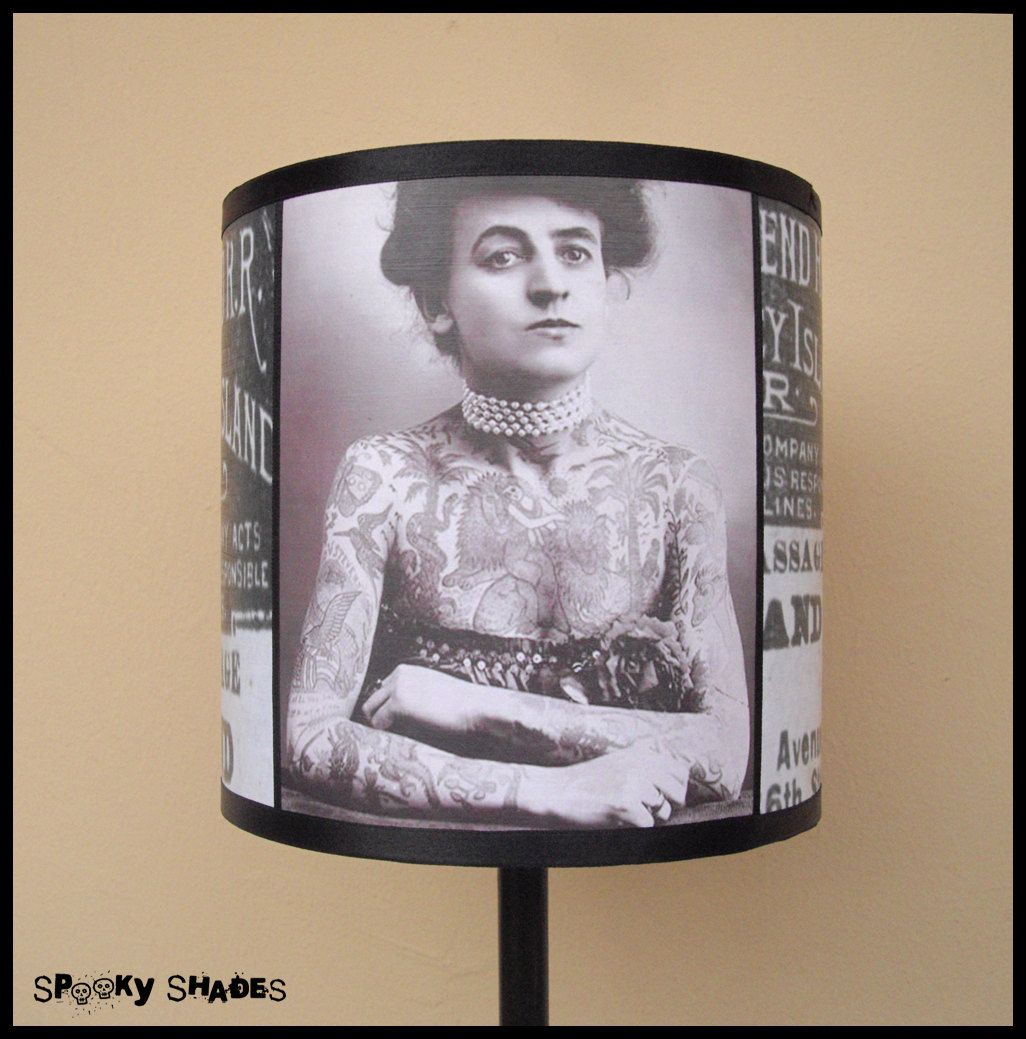 Vintage tattoos lampshade lamp shade by spookyshades on etsy uac