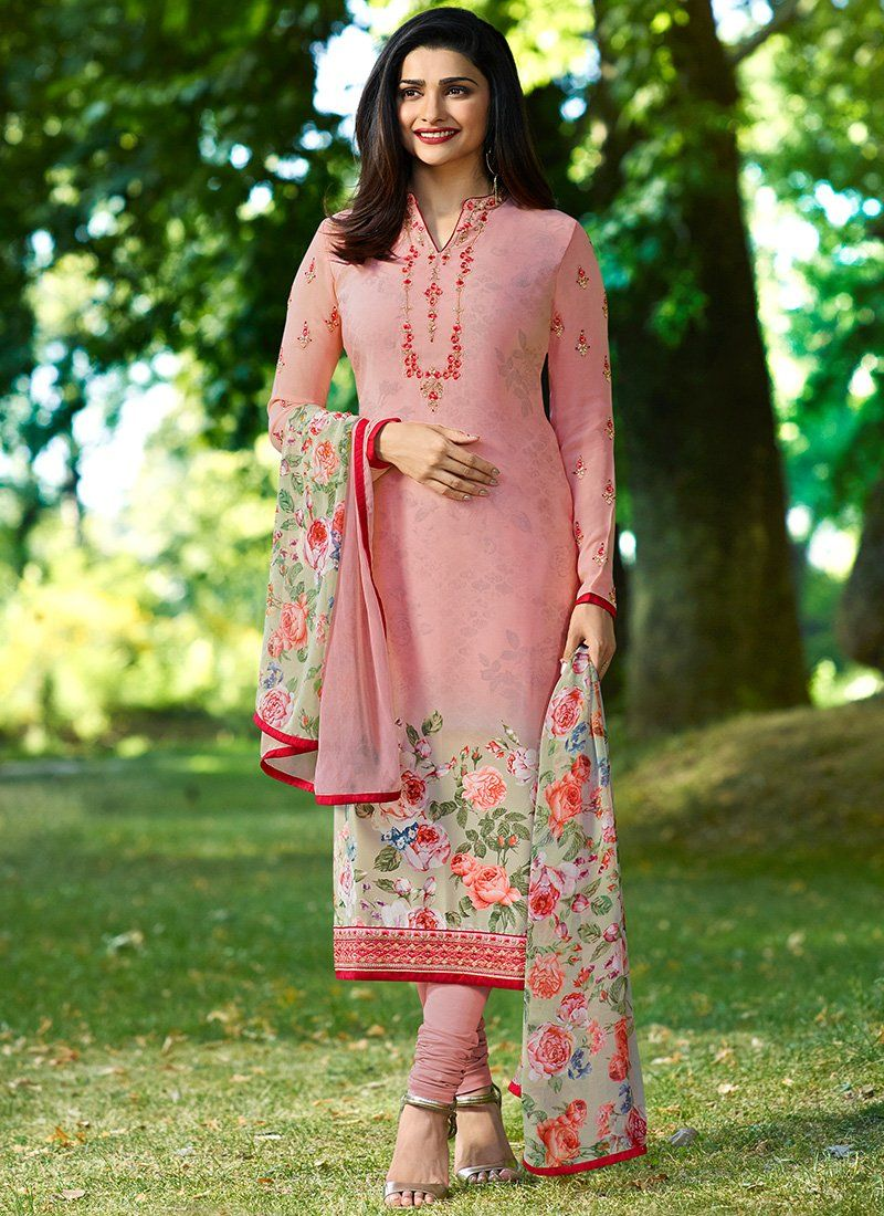 50e63fe6bf Light Pink Floral Embroidered Crepe Churidar Suit | Suits in 2019 ...