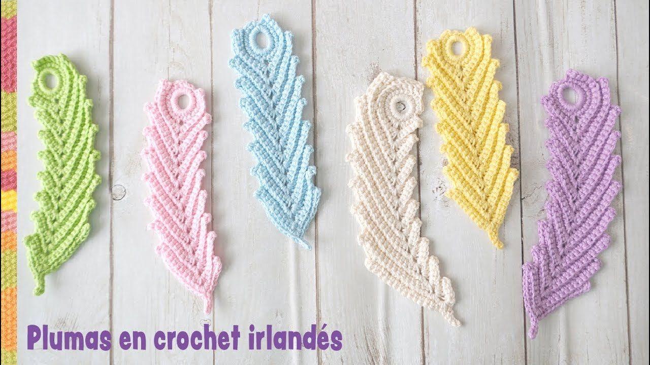 Plumas reversibles en crochet irlandés (rectas y curvas) / Tejiendo ...