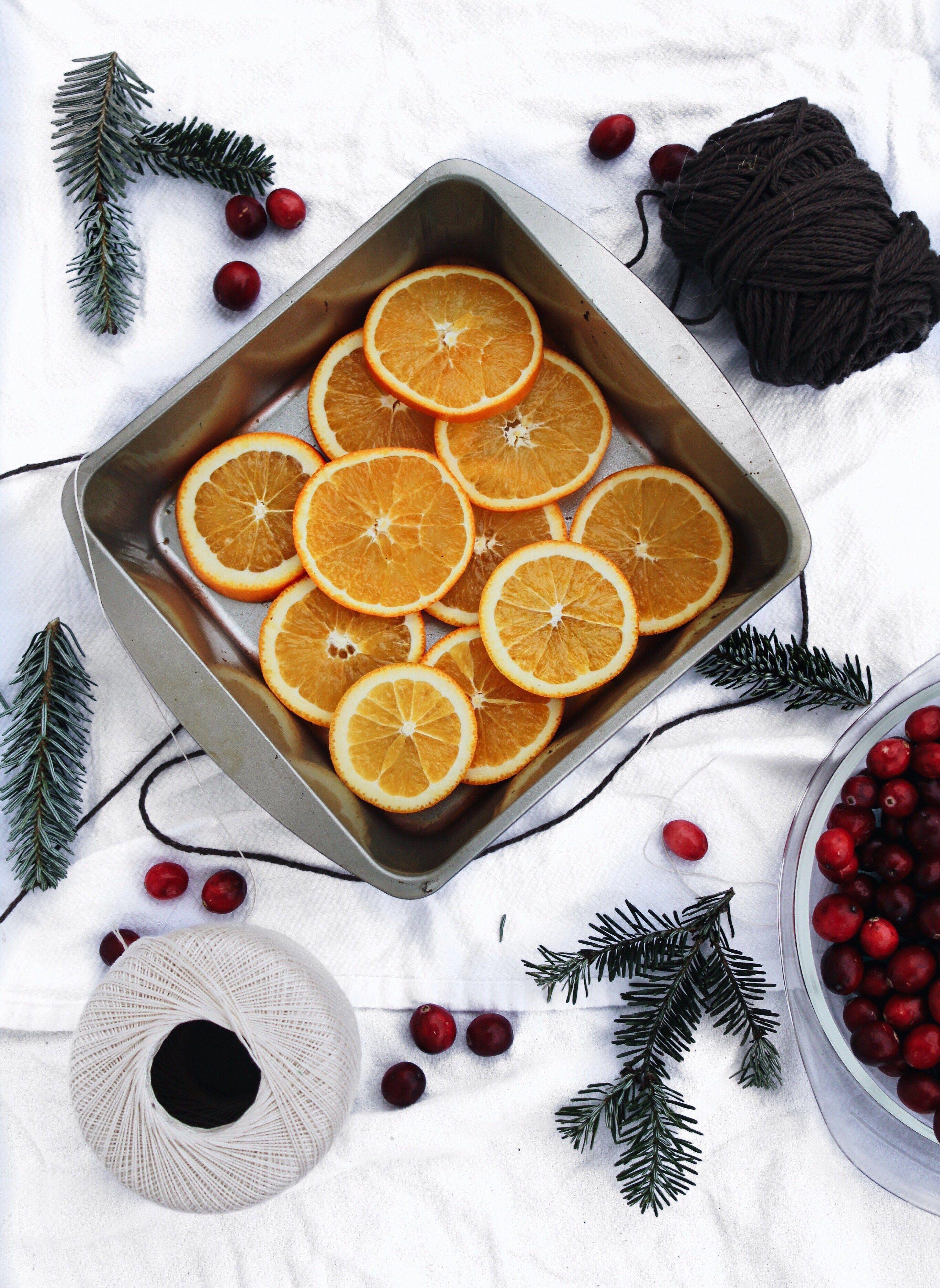 DIY Dried Orange + Cranberry Holiday Garland Orange