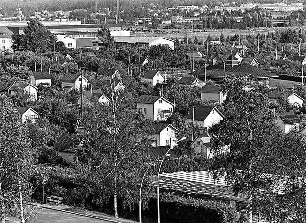Tampereen Hatanpäässä sijaitsi Suomen ensimmäinen siirtolapuutarha. Kuva otettu vuonna 1974, vuotta ennen toiminnan siirtymistä Niihaman ryhmäpuutarhaan.