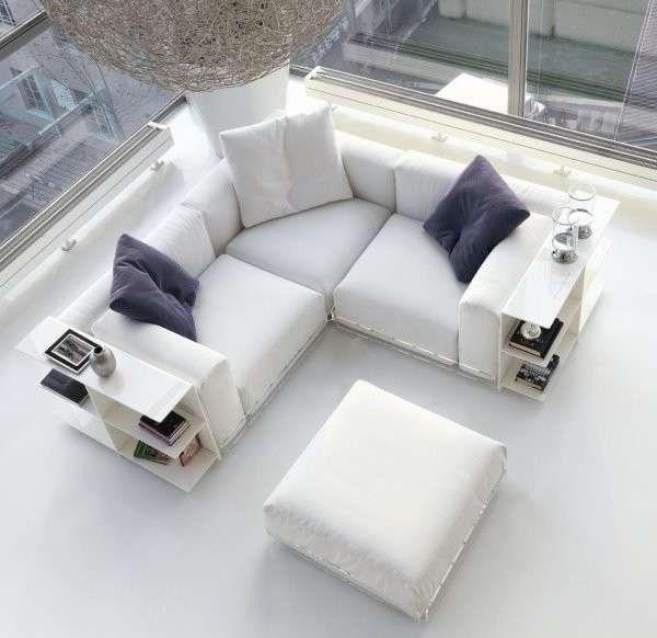 Divano ad angolo - Piccolo divano angolare bianco | Divani letto ad ...