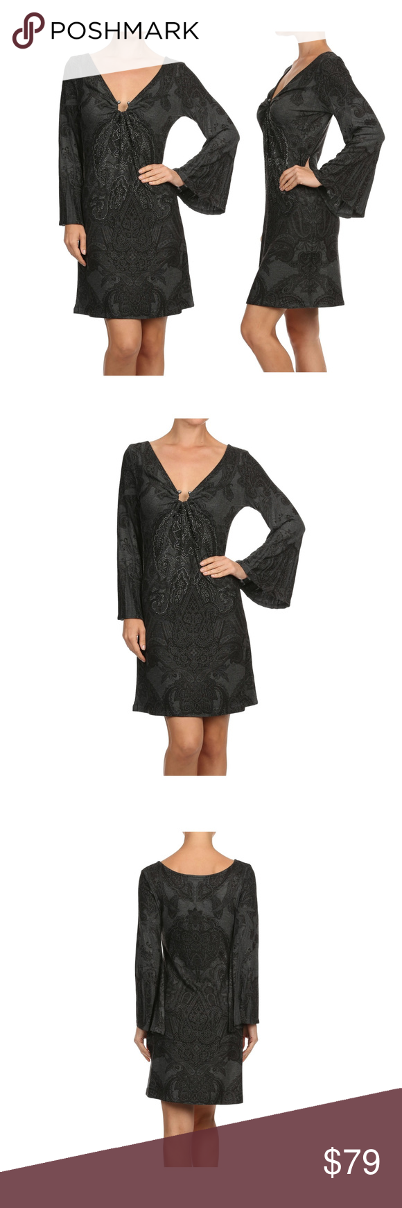 Womenus long sleeve rhinestone printed dress boutique printing