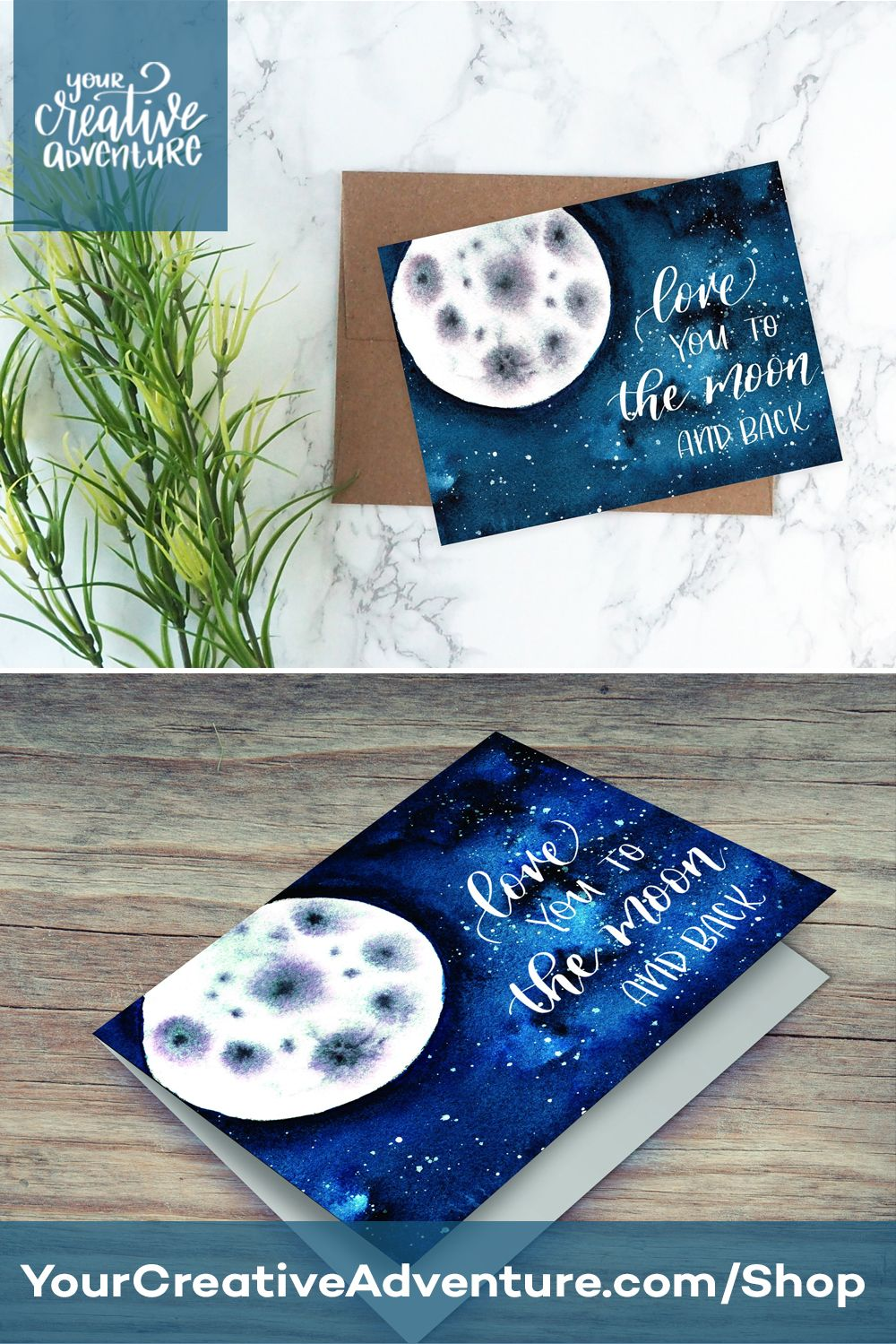 I love you to the moon and back card printable hand