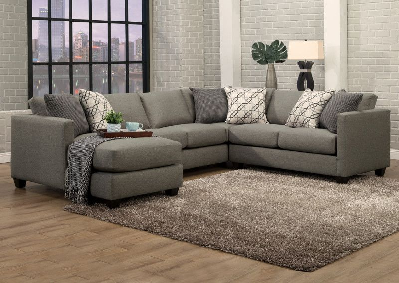 Benchley Orlando 3 pc Orlando slate fabric upholstered sectional ...