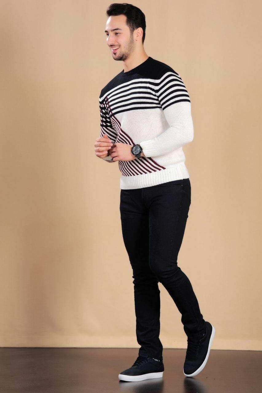 Bordo Cizgili Siyah Beyaz Triko Kazak Erkek Triko