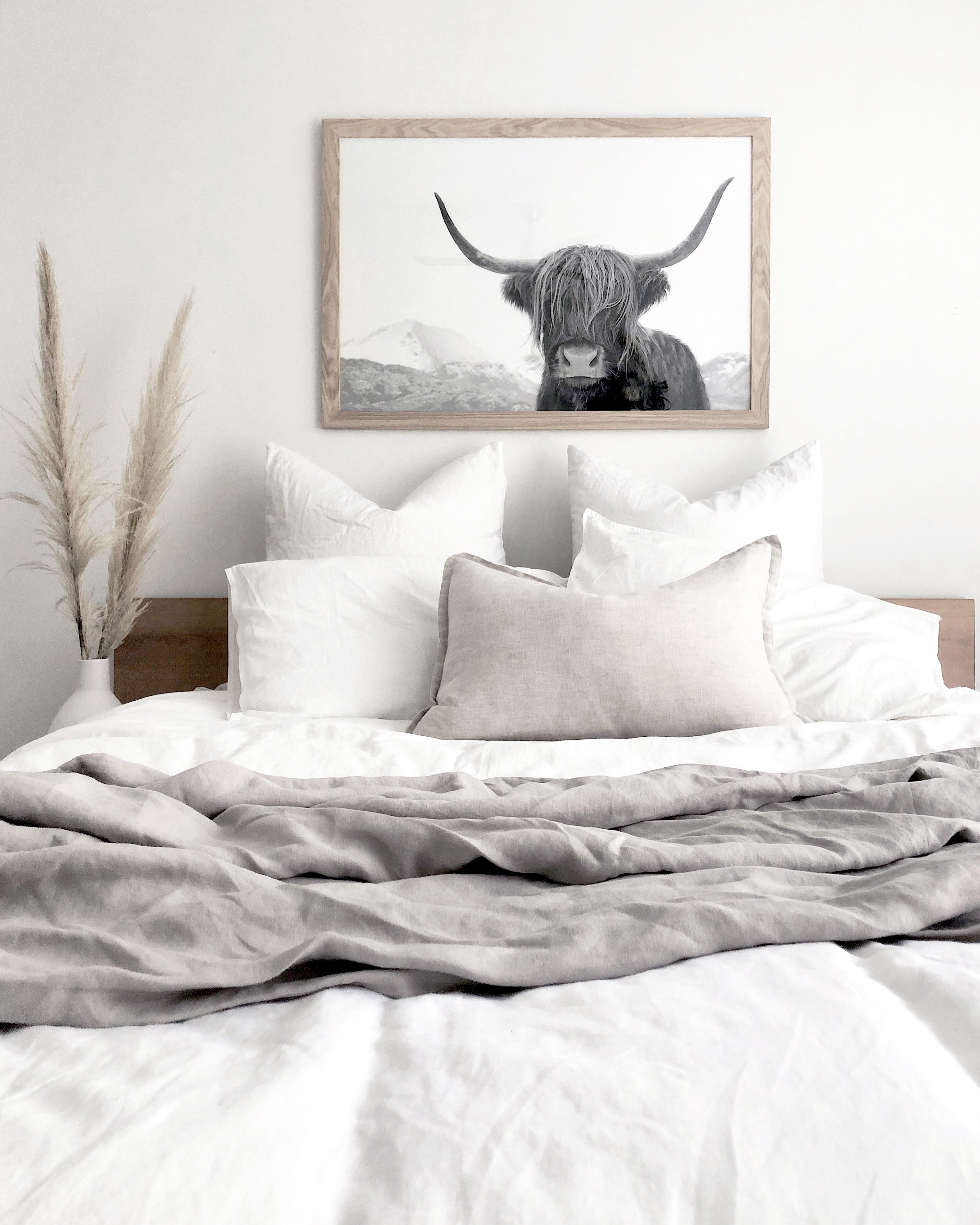 Large Highland Cow Print Black And