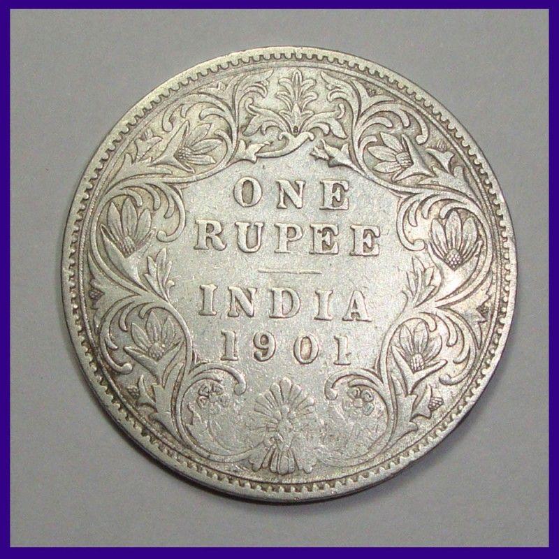 1901 Victoria Empress A 1 B Incuse One Rupee Silver Coin British India Silver Coins Old Coins Rare Coins