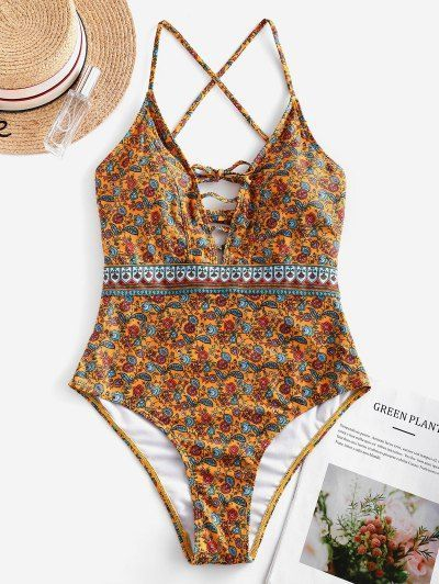 Bohemian Flower Lace Up One-piece Swimsuit MULTI-A -  -  They are SWIMsuit bikin... 3