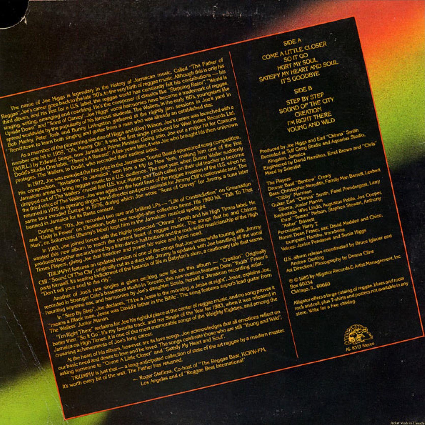 Joe Higgs - Triumph! (back cover)