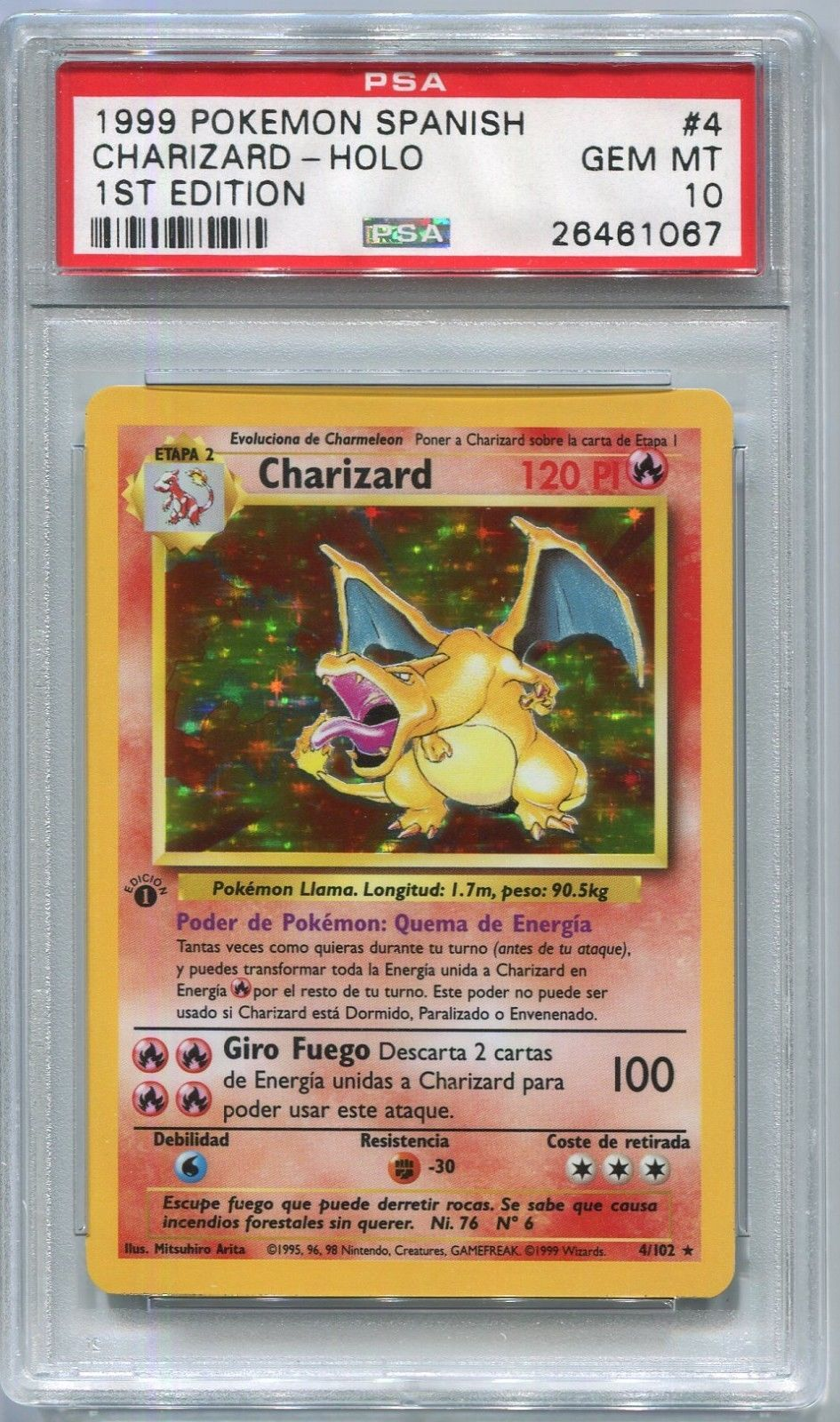 Pokemon Spanish 1st Edition Charizard Base Set 4/102, PSA 10