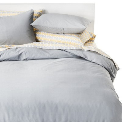 Gray Solid Cotton Blend Duvet Cover Set Full Queen 3pc Room