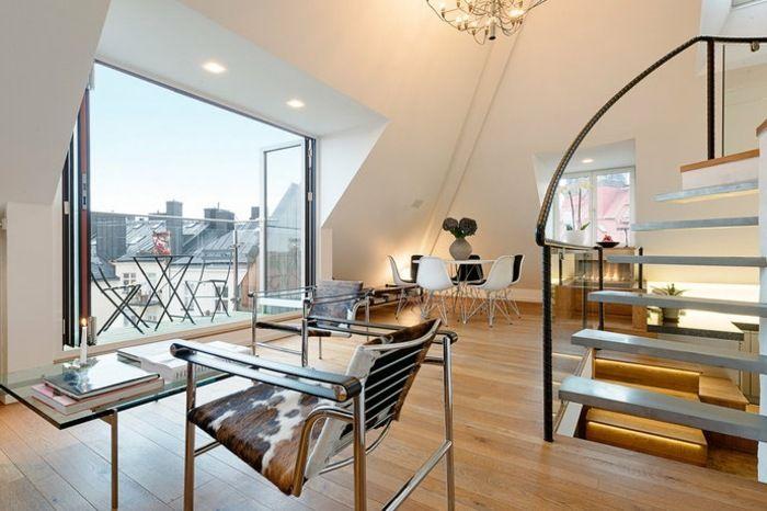 Wohnzimmer dachwohnung einrichten ideen modern
