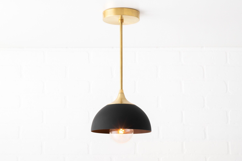Brass pedant ceiling lamp fixture mid century lighting