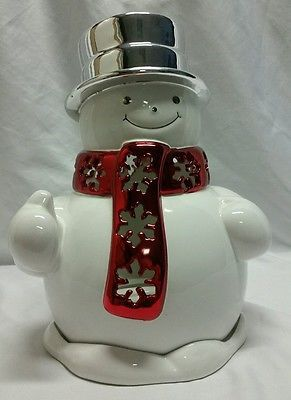 Large Slatkin Bath Amp Body Works Snowman Candle Holder Candle