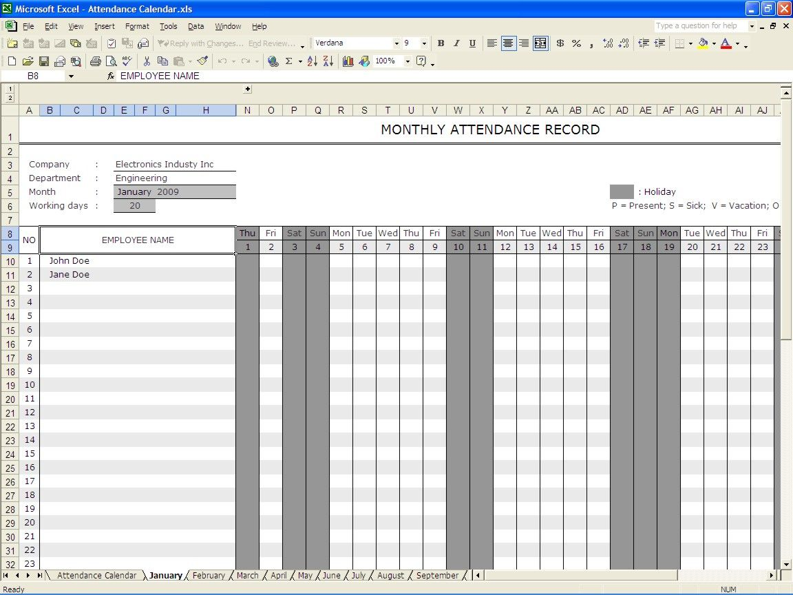 Excellent Monthly Attendance Sheet Record Template For