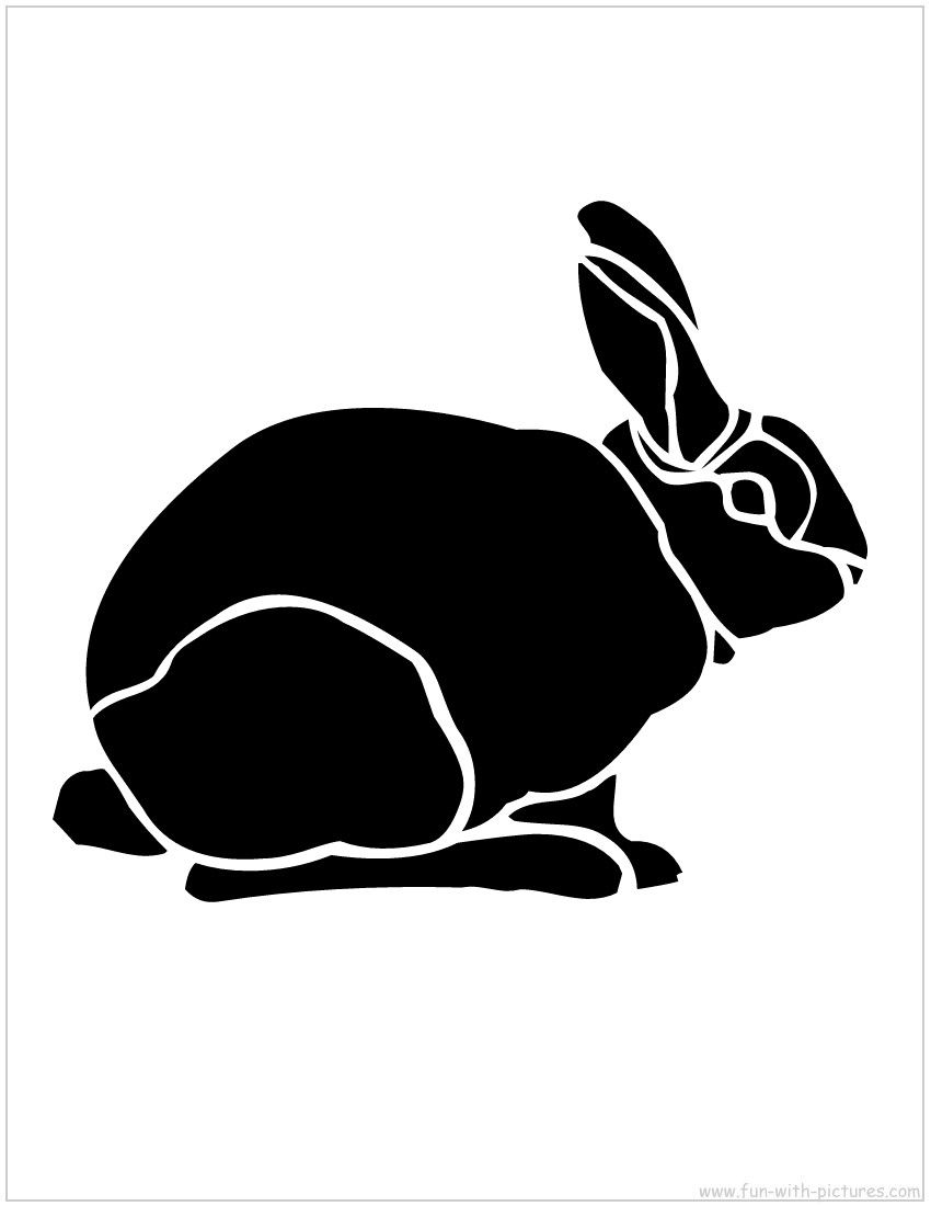 Rabbit stencil silhouette craft for easter appliqué wall