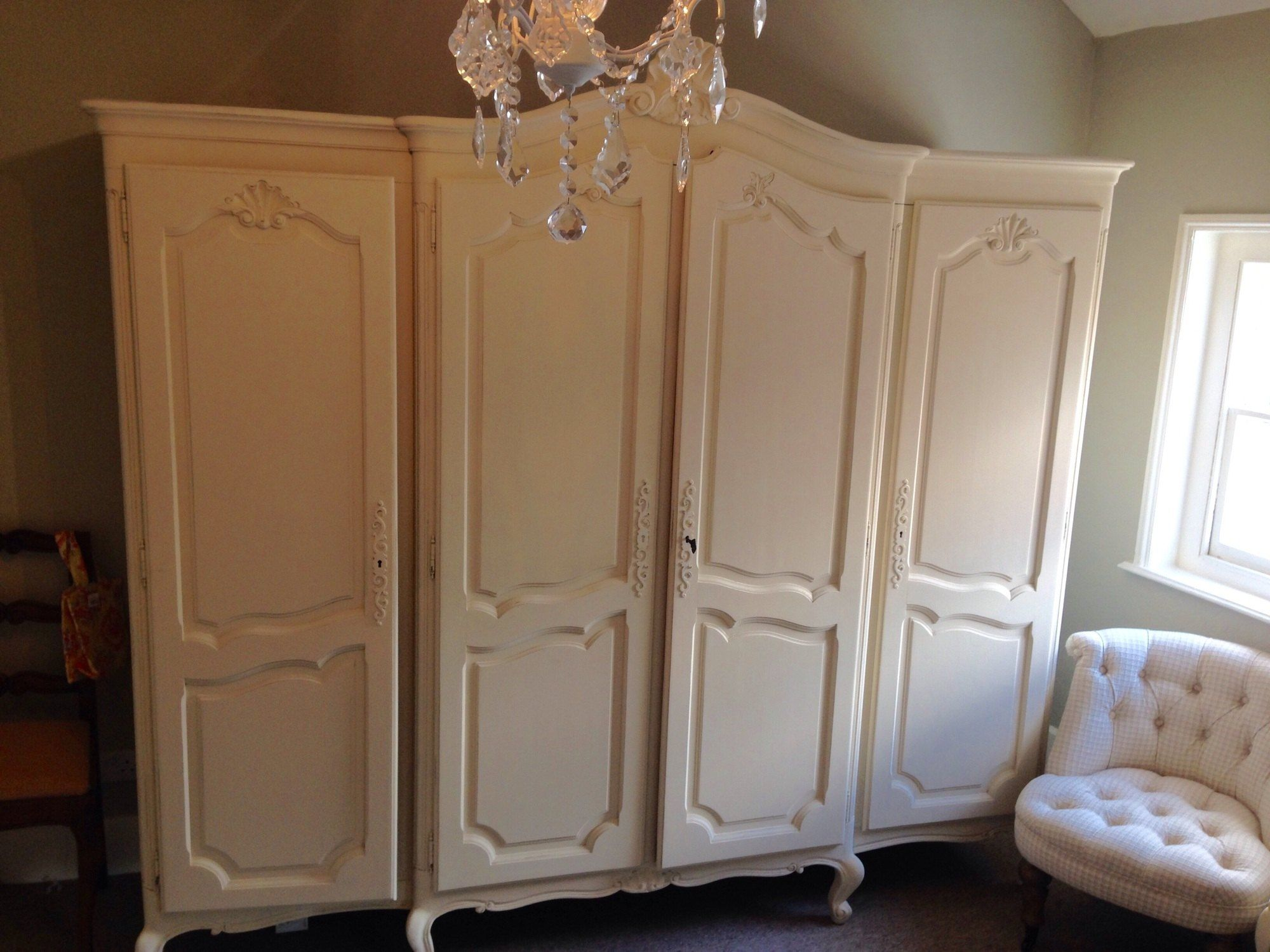 French Louis XV 4 door Armoire - wardrobe Old Ochre | Armoire ...