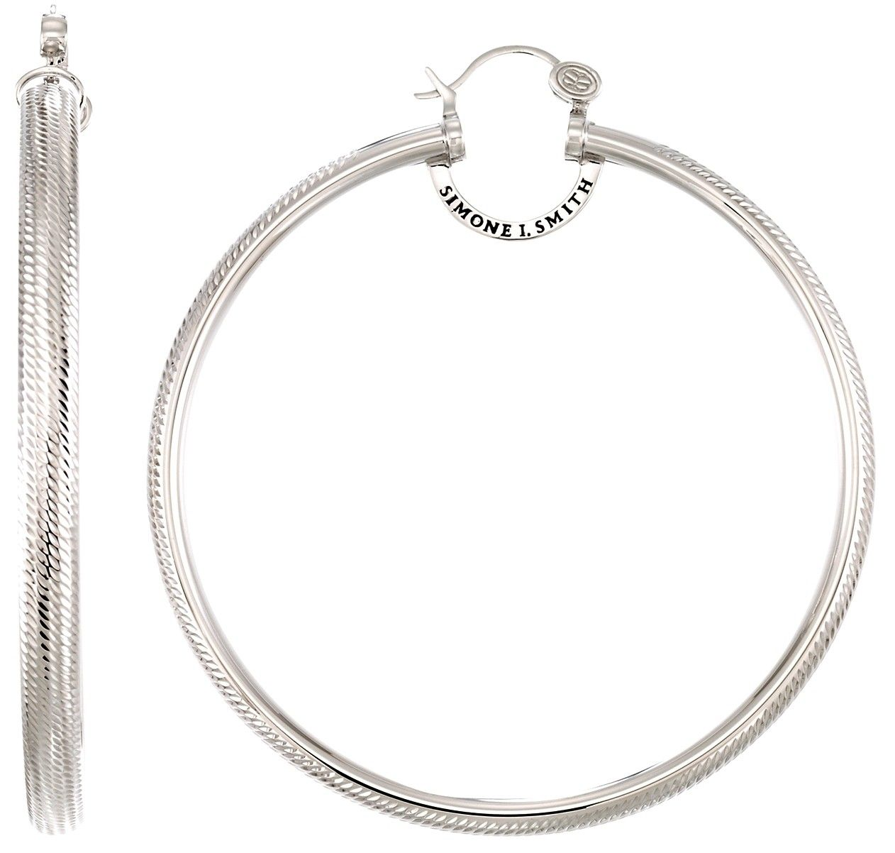 Brilliance xl hoopsplatinum over sterling silver diamond cut x