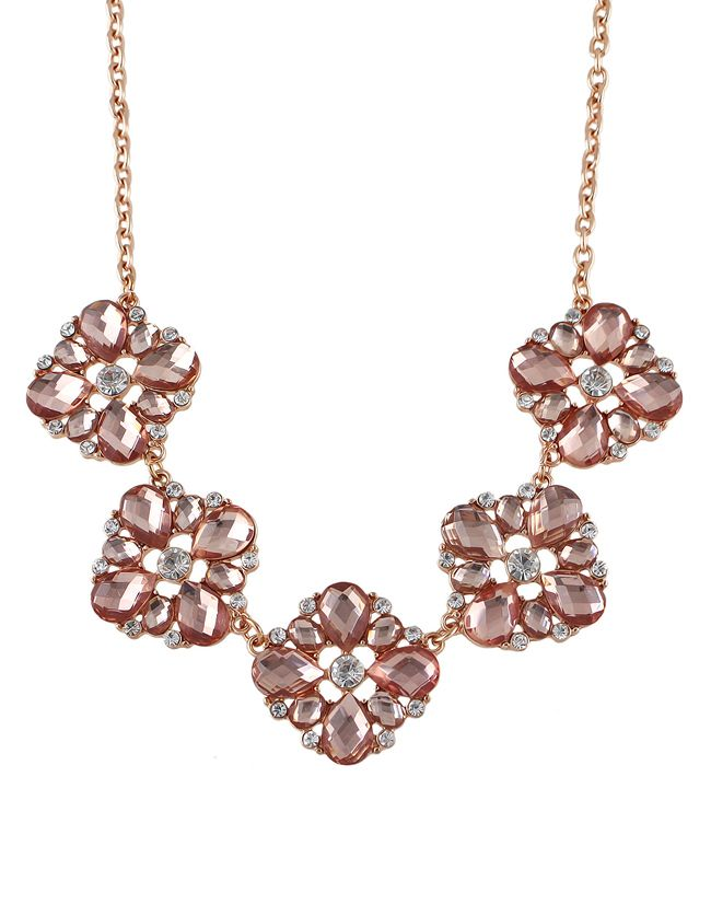 Costume Jewelry Gemstone Flower Necklace 7.60