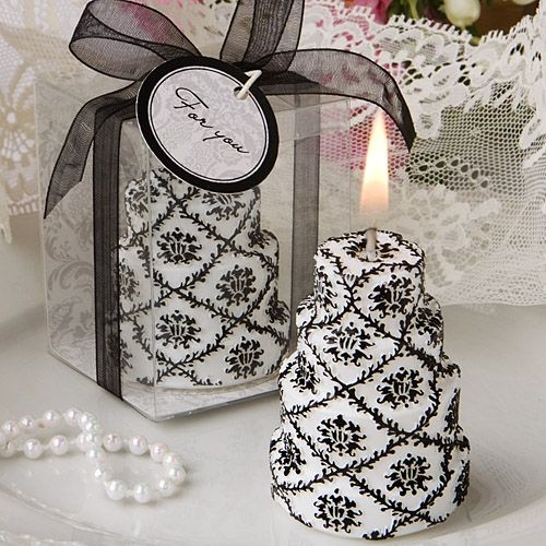 Damask Design Cake Candle Wedding Favors Great For The Black And White Theme