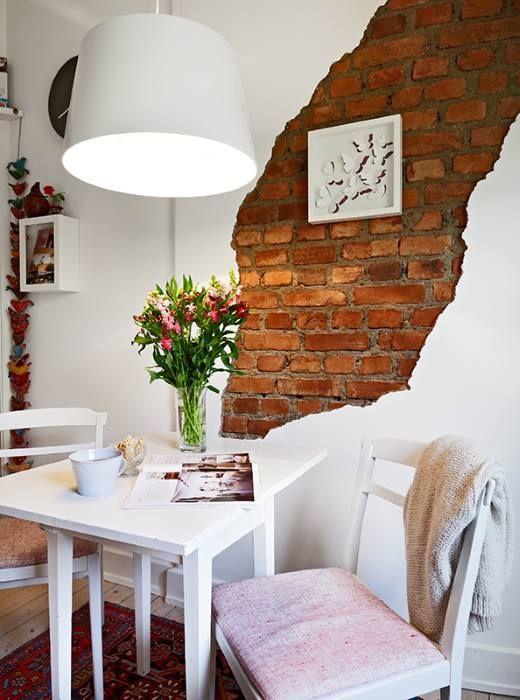 Ide Dco Petite Salle  Manger Avec Mur De Briques Ouvert Sur Une
