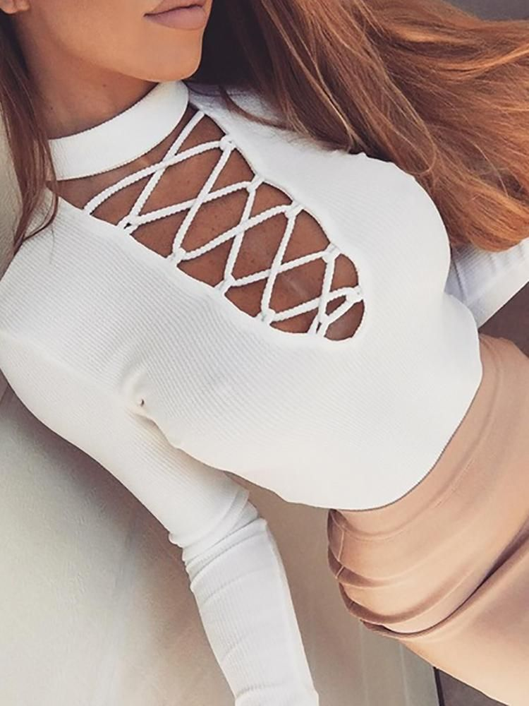 5f336d092ed0e2 Sexy Lace Up High Neck T-shirt | Clothes <3 | Fashion, Outfits ...