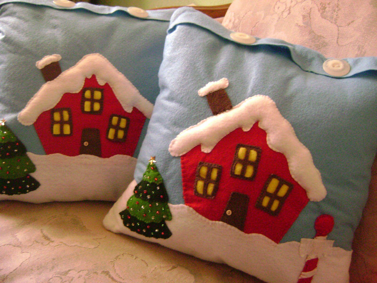 Cojin casita de navidad con moldes 2 navidad pinterest - Cojines de navidad ...