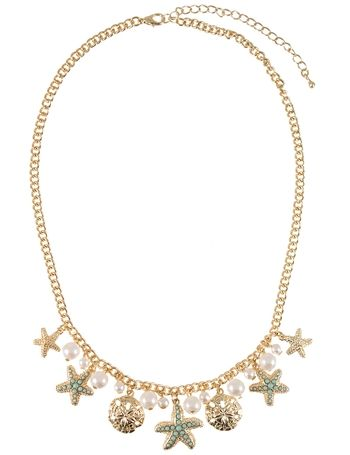 Perfect for a beachy look! | Mint Starfish Pearl Necklace | jewelboxonline.com
