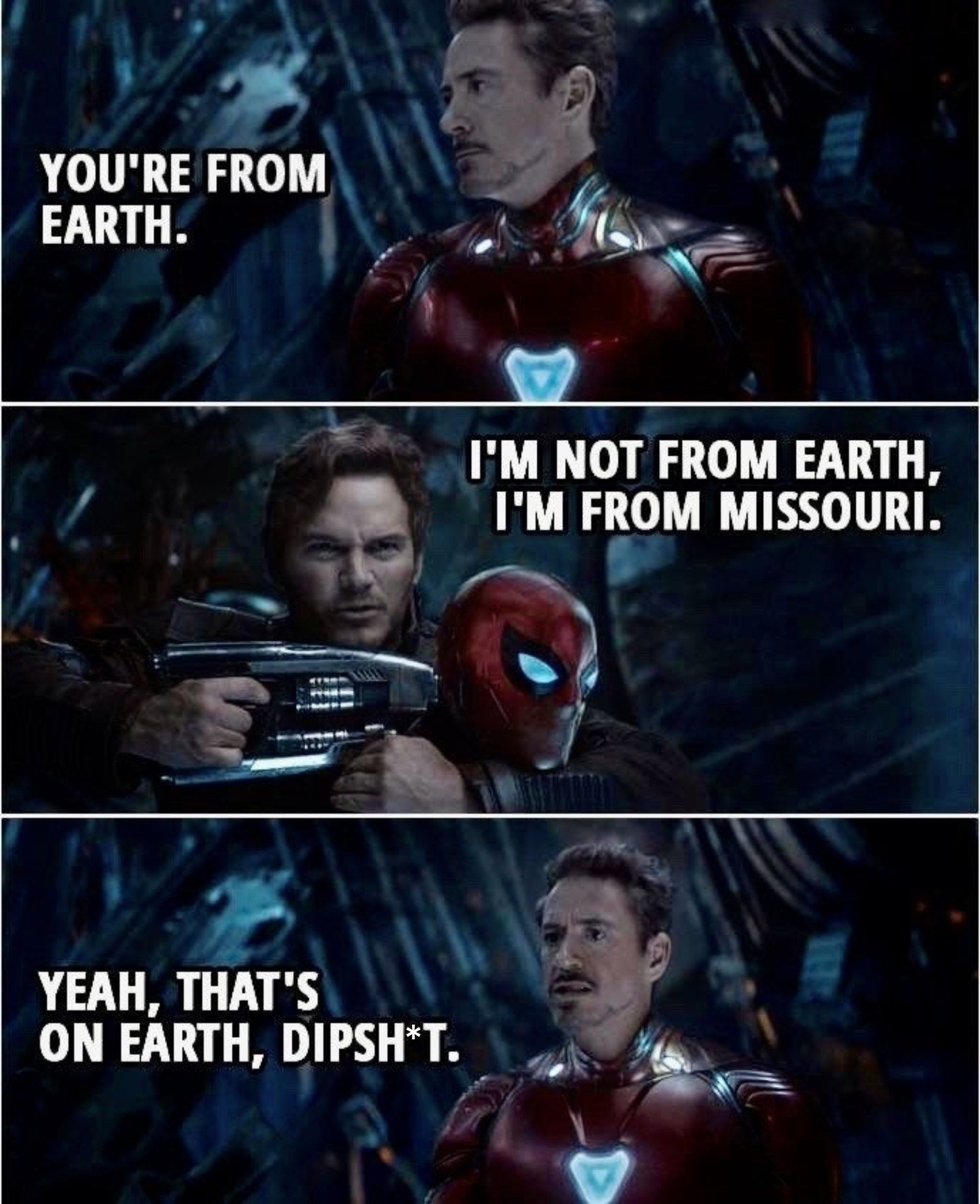 When Peter And Tony Figured Out Where They Were From In Avengers Infinity War Marvel Quotes Avengers Funny Marvel Funny
