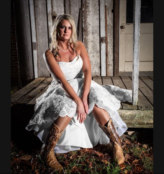 Country Wedding Dresses To Wear With Boots: Rustic Cowboy Boots & Wedding Dress Fall Wedding At