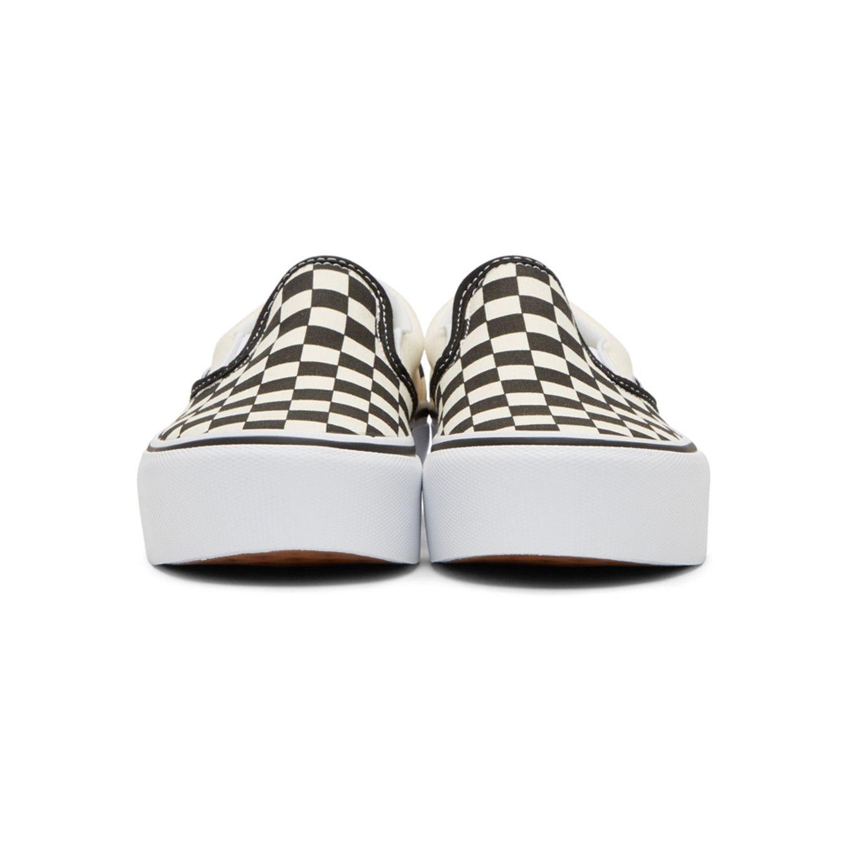 Vans Off White & Black Checkerboard Classic Slip On