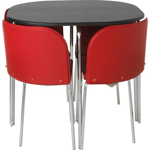 Argos Small White Table And Chairs: Buy Hygena Amparo Black Dining Table & 4 Chairs