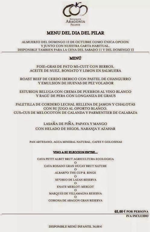 Gastronomía En Zaragoza Menú Día Del Pilar En Restaurante Aragonia Palafox Aceite De Nuez Restaurantes Berros