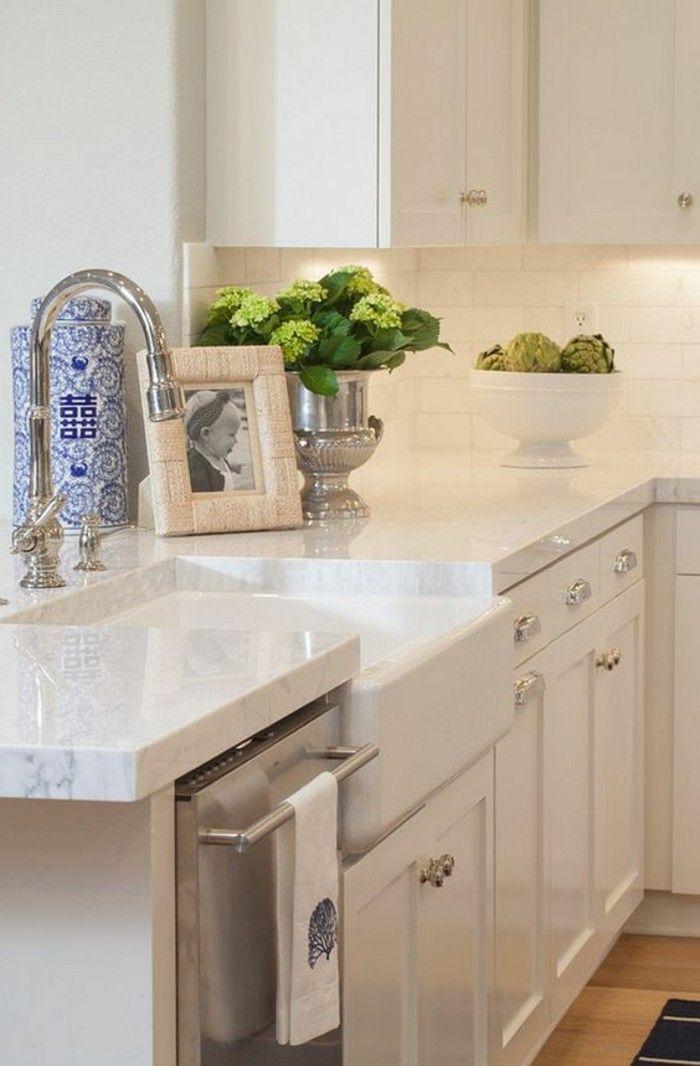 Arbeitsplatte Marmor Weiss Wandschrank Simple Kitchen Remodel Kitchen Design White Kitchen Remodeling